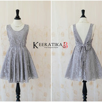 A Party V Charming Dress Gray Lace Backless Dress Prom Party Dress Gray Lace Bridesmaid Dress Cocktail Bow Dress Night Lace Dress XS-XL