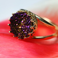 Round golden ring with purple druzy quartz. Bridal ring. Purple druzy quartz ring.10mm stone, Vintage ring, Cocktail ring, Bridesmaid gift