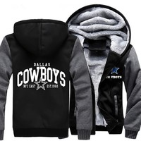Foot Ball Printing Pattern Men Women Dallas Cowboys Zipper Jacket Thicken Hoodie Coat Sweatshirts Fleece Clothing Casual