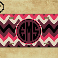 Personalized chevron license plate - Maroons, pinks multicolor chevron  - monogrammed license plate initials front car tag vanity (1030)