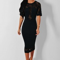 Mathilde Black Lace Panel Midi Dress | Pink Boutique