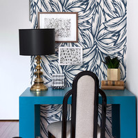 Navy blue leaves wallpaper    Floral wall mural    Wall sticker    Peel and stick    Removable    Reusable #96