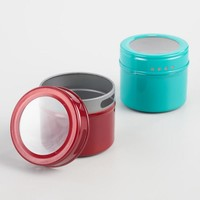 Aqua and Red Magnetic Spice Storage Tin, Set of 12