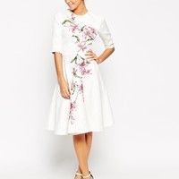 Chi Chi London Textured Pleat Front Midi Dress With Large Floral Placement