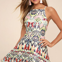 Swish Swish Cream Print Skater Dress