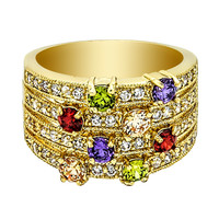Gorgeous Four Lines Colorful Stones Ring with Cubic Zirconia