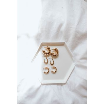 Thick Gold Hoop Set