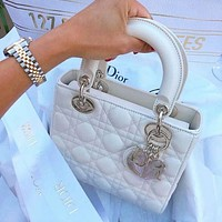 DIOR Women Leather Zipper Shopping Shoulder Bag Handbag