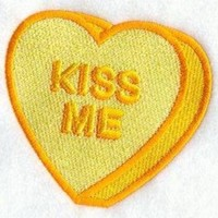CREYONV embroidered patch valentine conversation heart kiss me sew or glue on 3x3