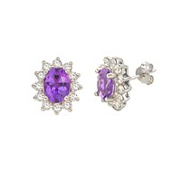 Amethyst Gemstone Flower Stud Earrings 925 Sterling Silver Micropave CZ Accent