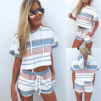 2020 new arrival women's color striped hooded T-shirt drawstring tight shorts suit two-piece