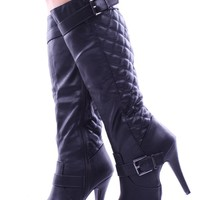 BLACK LEATHER QUILTED STRAPPY BUCKLE KNEE HIGH HEEL BOOTS
