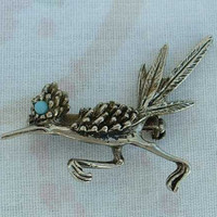 Cute Roadrunner Pin Brooch Turquoise-Colored Eye Figural Jewelry