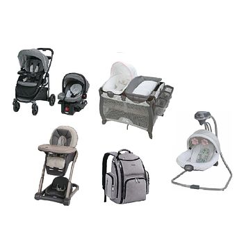 Graco Pink Complete Baby Gear Bundle,Stroller Travel System,Swing,High Chair