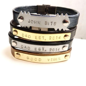 Personalized Mens Jewelry, Leather Bracelet, Anniversary Gift