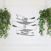 Life is Lovely Inspirational Quote Illustration Large Wall Tapestry Home Decor Wall Hanging Banner Wall Art