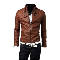 Partiss Mens PU Leather Motorcycle Jacket