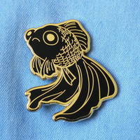 PRE-ORDER Sad Fish Hard Enamel Pin - Gold and Black - Lapel Pin - Goldfish Black Telescope