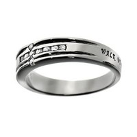 Stainless Steel Walk By Faith, Not By Sight 2 Cor. 5:7 Channel Set Cross Chastity Purity Ring for Girls