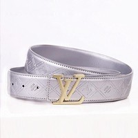 LV Louis Vuitton Woman Men Fashion Smooth Buckle Leather Belt Silvery