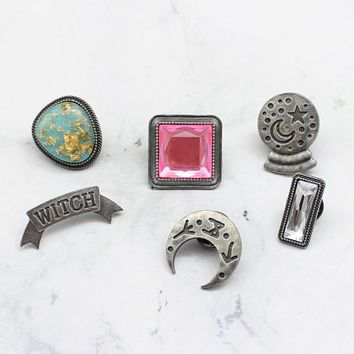 Trendy New Creativite Brooch Moon Star Lucky Crystal Ball Witch Natural Stone Pink White Rhinestone Pin Denim Jacket Badge Punk Gift AT_94_13