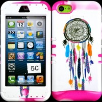 Apple Iphone 5c Colorful Dream Catcher on White Design Hard Plastic Protective Cover Case with Kickstand on Two Tone Pink and White Silicone Gel.