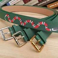 GUCCI green snake print Woman Fashion Smooth Buckle Belt Leather Belt H-A-GFPDPF