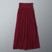 Embroidered Smocked Maxi Skirt