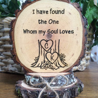 Rustic Wood Wedding Cake Topper, Custom Cake Topper, Soulmate, Tree Cake Topper, Engraved Topper, Wood Slice Cake Top, Romantic Topper