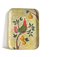 Vintage Paper Mache Decorative Tray // Partridge in a Pear Tree