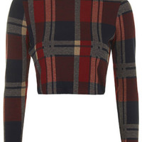 Long Sleeve Red Check Top - Red