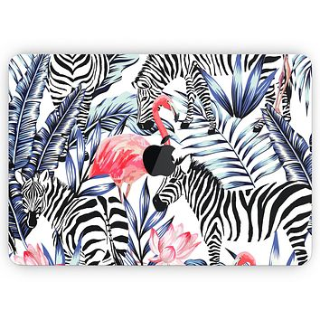 """Tropical Flamingo and Zebra Jungle - Skin Decal Wrap Kit Compatible with the Apple MacBook Pro, Pro with Touch Bar or Air (11"""", 12"""", 13"""", 15"""" & 16"""" - All Versions Available)"""