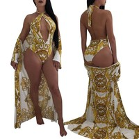 Cover ups Bikini IASKY 2PCS/SET Sexy Cover Up + Swimsuit Set 2018 Retro Print Women  & one piece swimwear Robe De Plage KO_13_1
