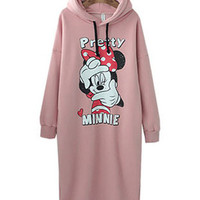 Cartoon Minnie Print Long Sleeves Hooded Midi Dress Sweatshirt