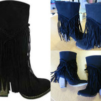 Wyoming Fringe Boot (Black)