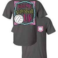 Southern Couture Livin the Volleyball Life Sports Chevron Faux Pocket Girlie Bright T Shirt
