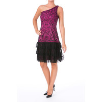 Sue Wong Womens Tiered One Shoulder Cocktail Dress