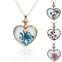 Glass Bottle Necklace Ball Chain Heart Pendant Transparent With Blue Red&Blue Purple&Pink Pink Dried Flower 60cm long, 1 Piece