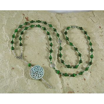 Pentacle Meditation Bead Necklace in Green Tiger Eye