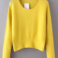 Yellow Long Sleeve Cropped Sweatshirt