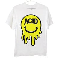 Mr. Acid Face T-Shirt   Black and Yellow on White   Killer Condo Apparel