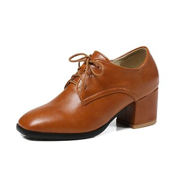 Ladies Square Head Lace-up Oxford Shoes