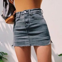 High waist denim skirt female summer new side slit slim slimming denim skirt skirt