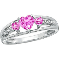 Heart Shaped Created Pink Sapphire and Diamond Accent Ring in Sterling Silver