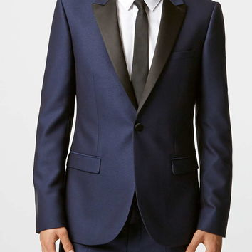 Blue Crepe Skinny Fit Tux Jacket With Contrast Lapel - New This Week - New In