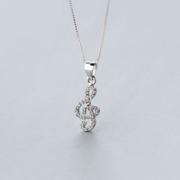 Crystal musical note necklace + Gift box ALQ1024N