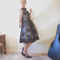 Mid Century Party Dress. Black White Floral. Chiffon Overlay. Size S.