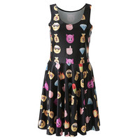 Black Emoji Printed Dress