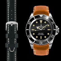 Curved End Leather Strap for Rolex Submariner 5512 & 5513 with Tang Buckle