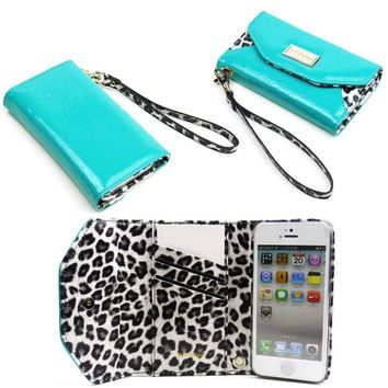 JAVOedge Turquoise Leopard Slim Folding Clutch Style Wallet Case / Card Holder with Wristlet for the Apple iPhone 5 / 5S